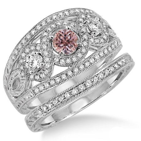 2 Carat Morganite   Diamond Trilogy Set Ring On 10K White Gold