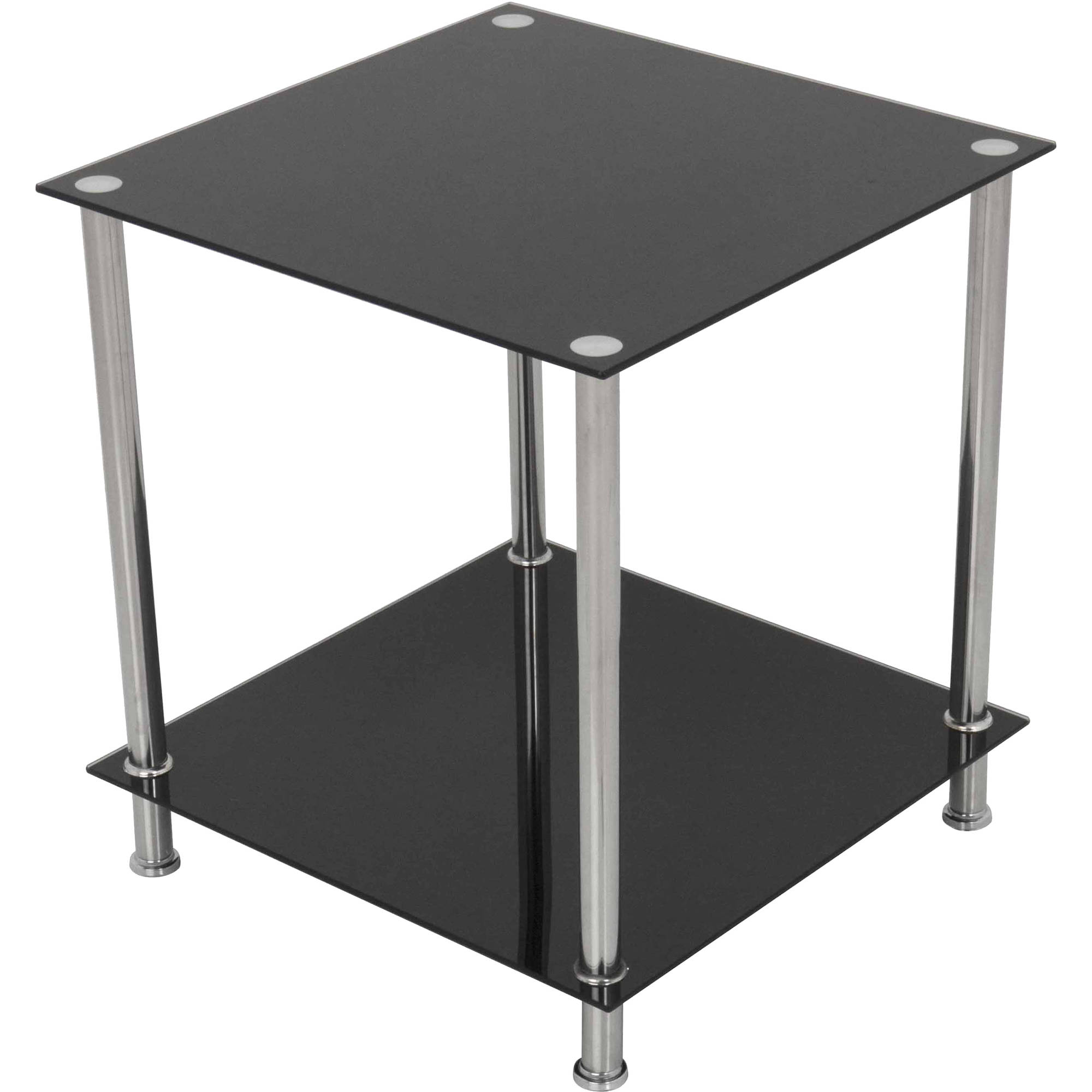 AVF 2-Tier Side End Lamp Table, Black Glass and Chrome, T52-A by AVF