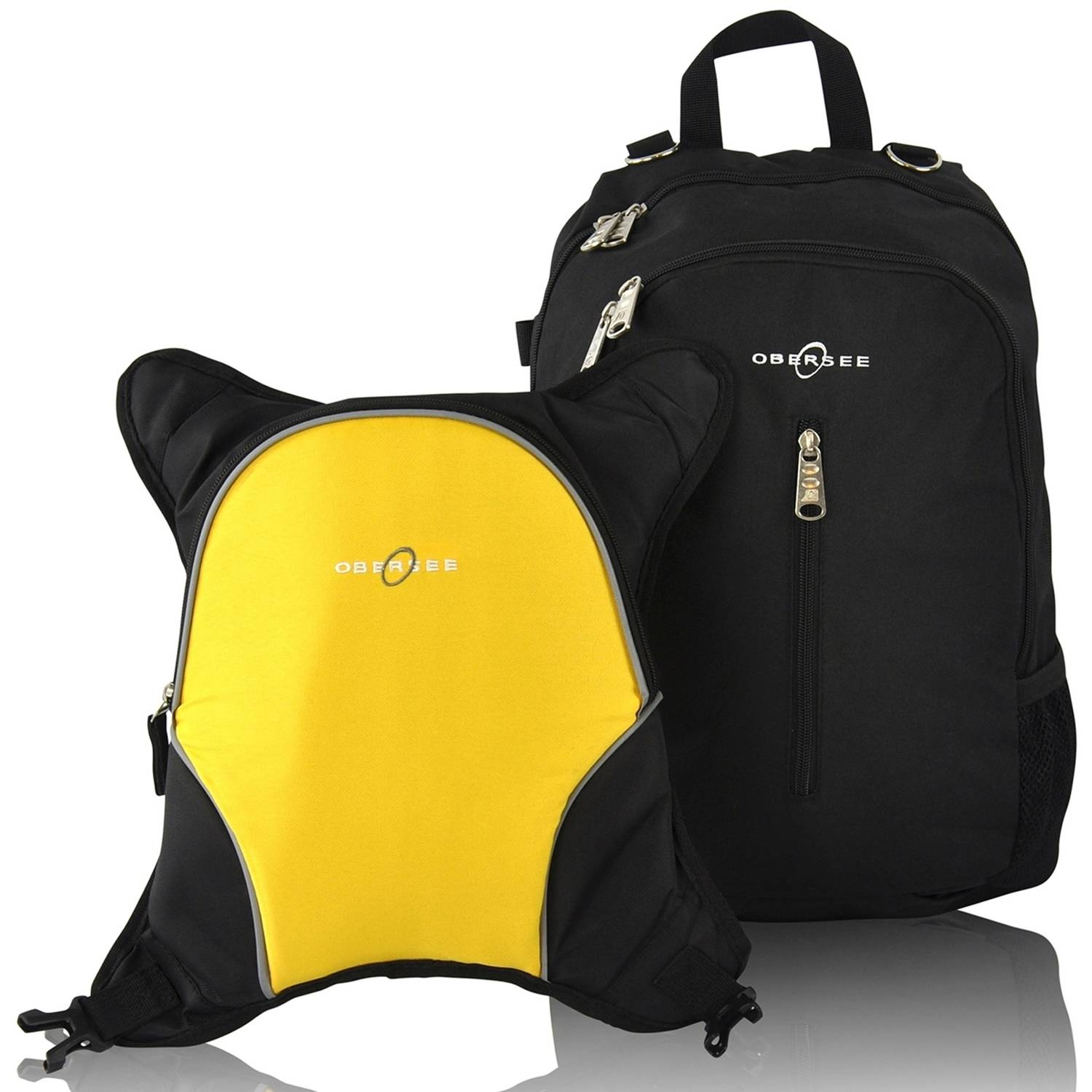 Obersee Rio Diaper Bag Backpack with Detachable Cooler, Black/Yellow