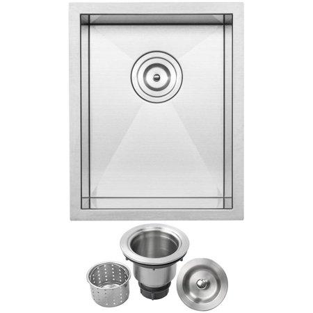 "14"" Ticor S3620 Pacific Series 16-Gauge Stainless Steel Undermount Single Basin Zero Radius Kitchen and Bar Sink"