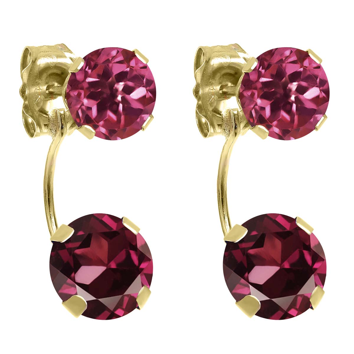 3.00 Ct Round Red Rhodolite Garnet Pink Tourmaline 14K Yellow Gold Earrings by