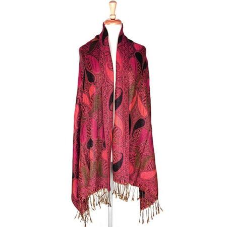 Layer Scarf - Paisley Pattern Tow Layered Woven Pashmina Shawl Scarf Wrap Stole