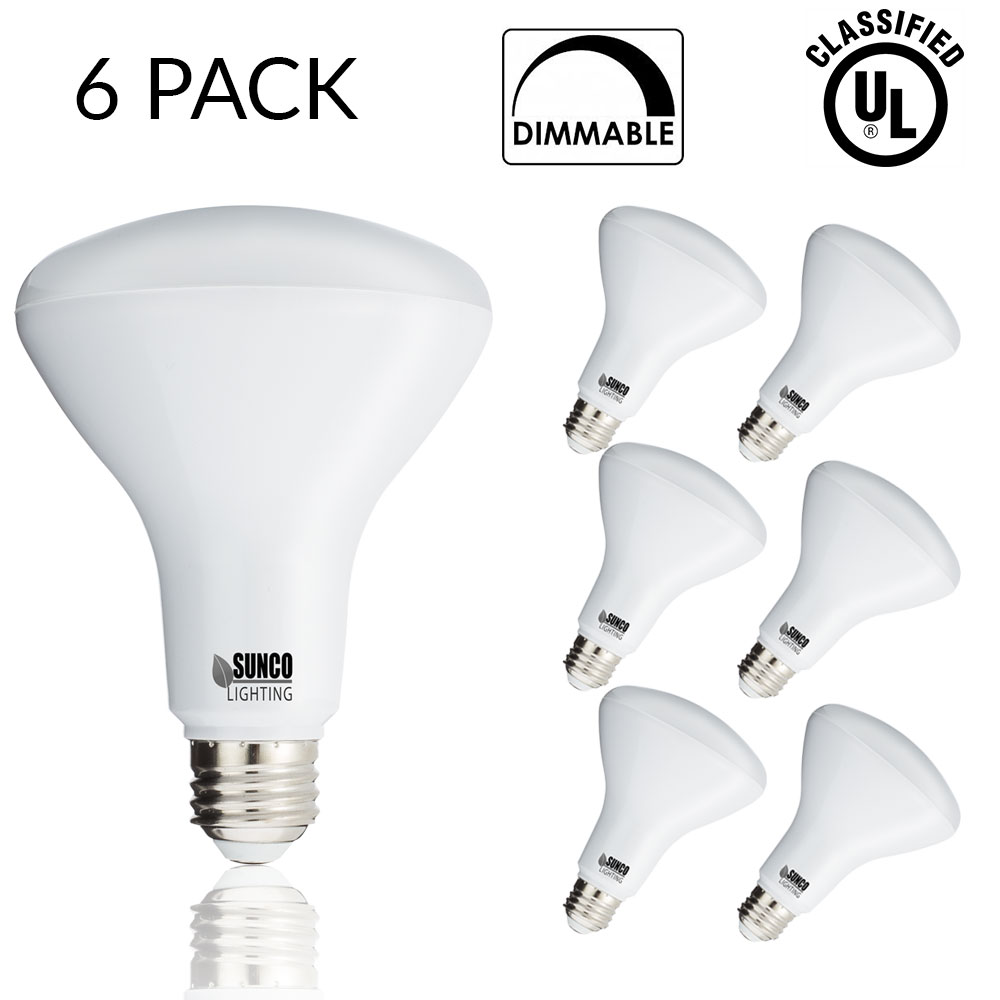 SUNCO 6 PACK - BR30 LED 11WATT (65W Equivalent), 5000K Daylight, DIMMABLE, Indoor/Outdoor Lighting, 850 Lumens, Flood Light Bulb, UL LISTED