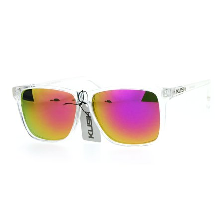 Amber Sunglasses With Silver Frames (SA106 Kush Color Mirror Large Clear Plastic Frame Sport Sunglasses Fuchsia )