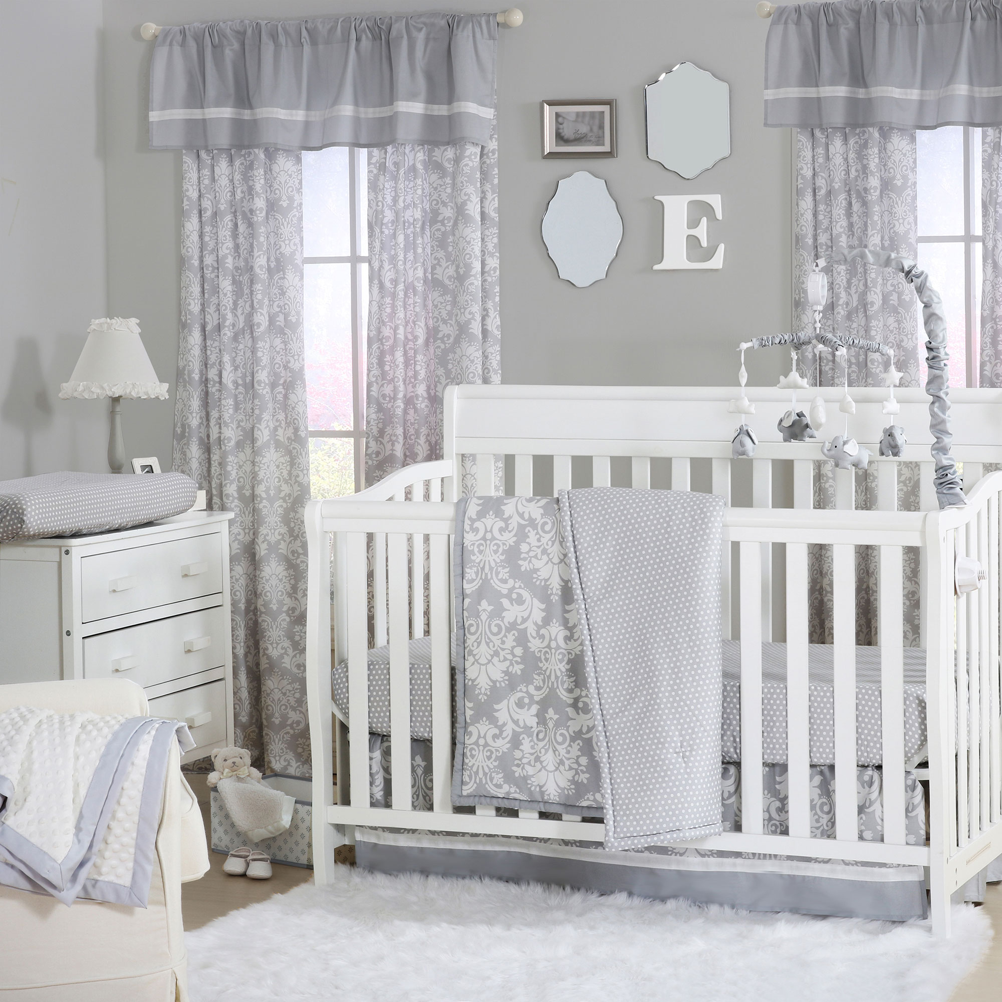 The Peanut Shell 4 Piece Baby Crib Bedding Set - Grey and White Damask and Polka Dot Prints - 100% Cotton Quilt, Dust Ruffle, Fitted Sheet, and Mobile