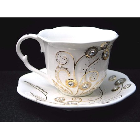 Euro Porcelain 12-pc Coffee Tea Cup Set, 24K Gold plated w/ Swarovski Design inlaid Rhinestones, Bejeweled Bone China Cups (8 oz) w/ 5.5