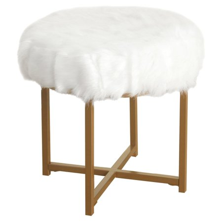 HomePop Decorative Faux Fur Round Ottoman, Multiple Colors