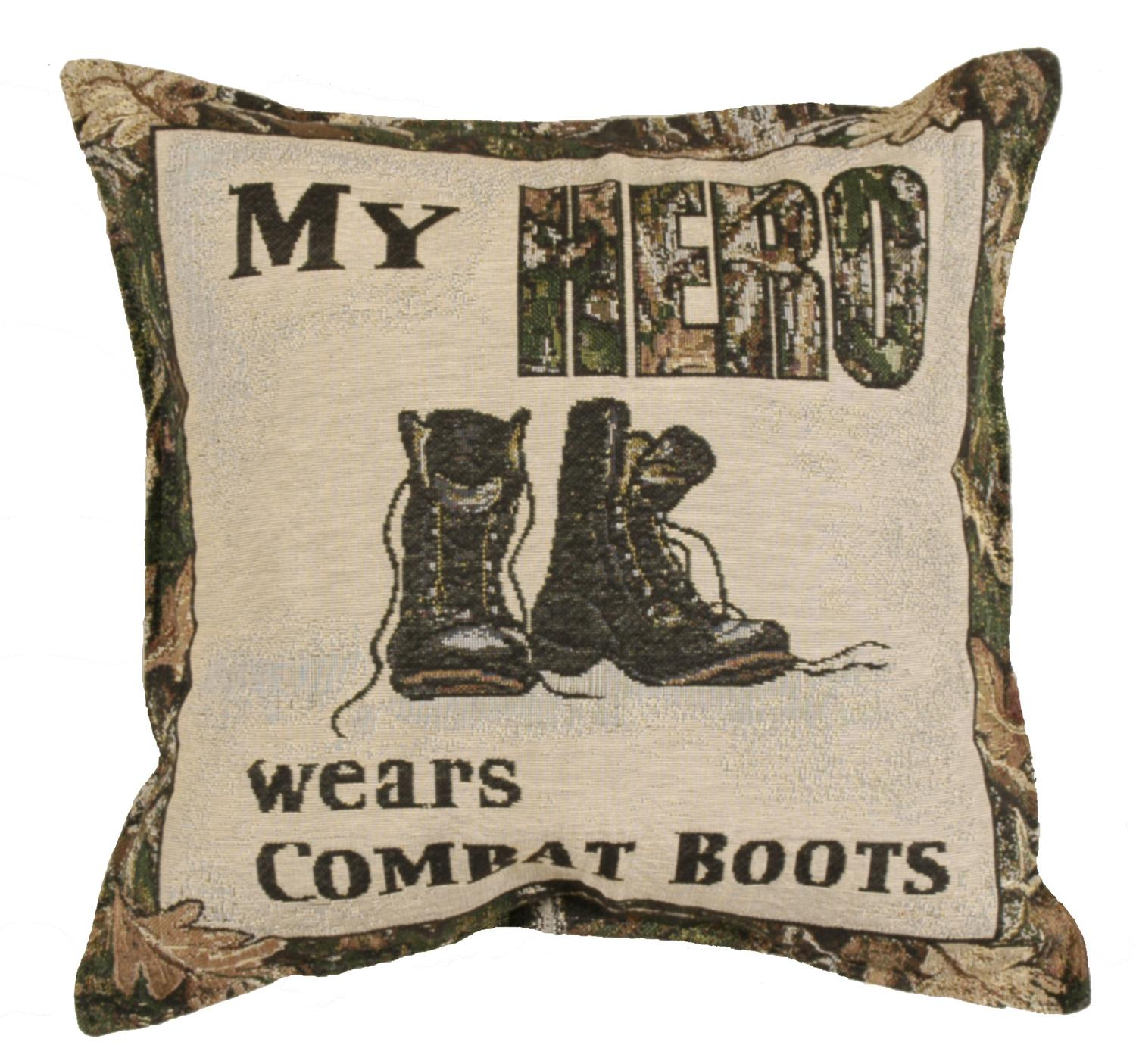 "Set of 2 �������My Hero"" Combat Boots Military Square Decorative Tapestry Throw Pillows 17"""