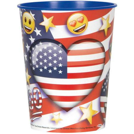 Unique Industries Patriotic Emoji Plastic Cup, 16 oz, 1ct