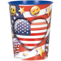 Unique Industries Patriotic Emoji Plastic Cup, 16 oz, 1ct by Plastic Glasses
