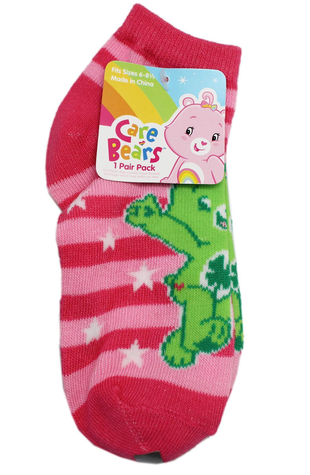Care Bears Good Luck Bear Pink Striped Kids Socks Size 6-8, 2 Pairs