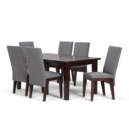 Brooklyn + Max Tremont Contemporary 7 Pc Dining Set with 6 Upholstered Dining Chairs in Grey Linen Look Fabric and 66 inch Wide Table ()