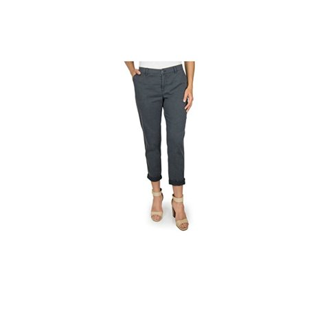Deluxe Washed Chino (Woolrich Women's Size 4 Washed Cropped Sunday Chino Pants, Dark Coal Grey )