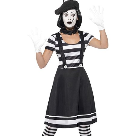 Adult's Womens Mime Artist Street Performer Dress - Circus Performer Costume