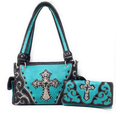 American West Western Handbag (Premium Rhinestone Cross Cut Out Western Embroidered Womens Concealed Carry Handbag With Matching Wallet )