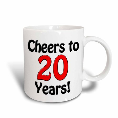3dRose Cheers to 20 years. Red., Ceramic Mug, 11-ounce