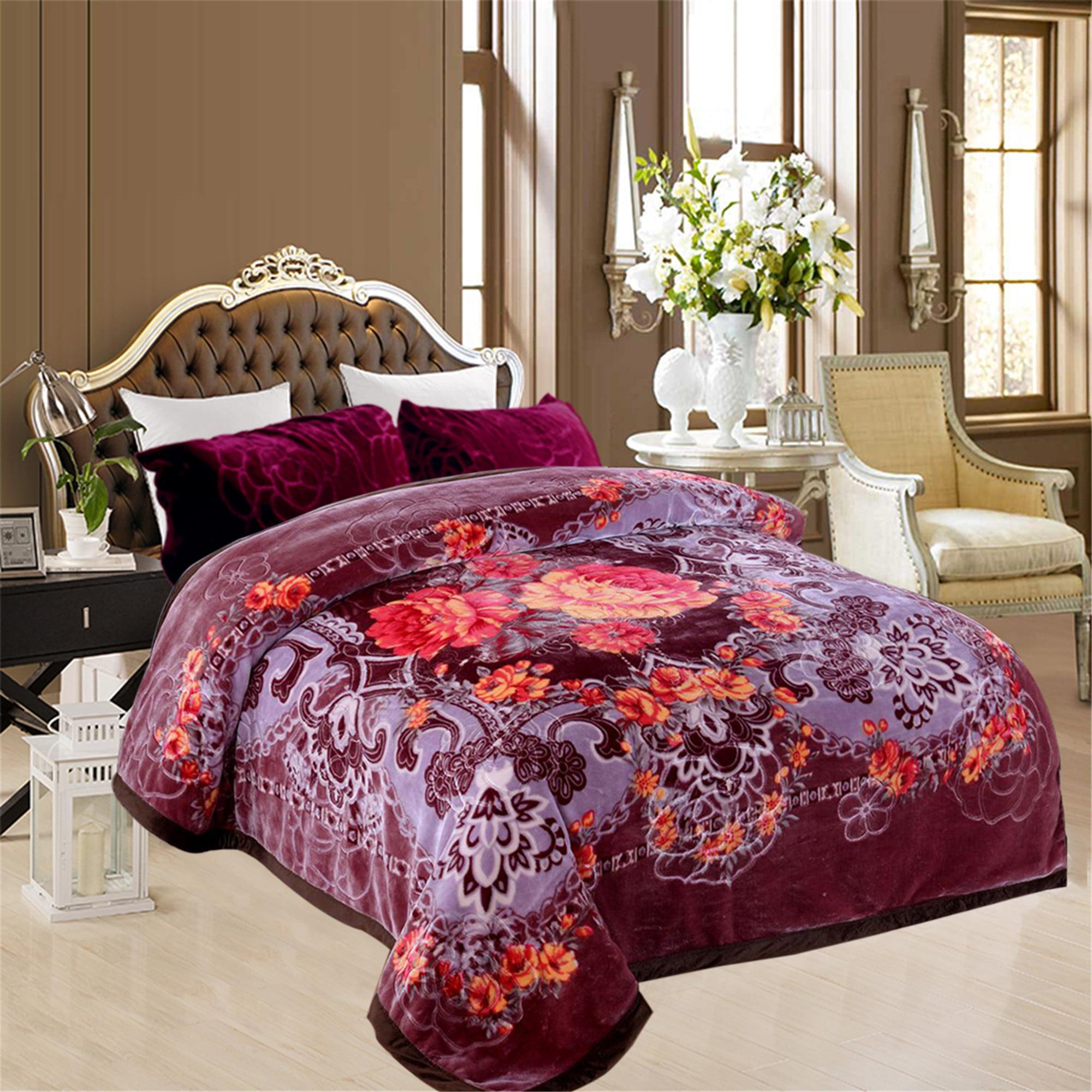 Multipurpose Cozy Warm Mink Blanket For Home Bed 2 Ply Printed Heavy Winter Raschel... by JML