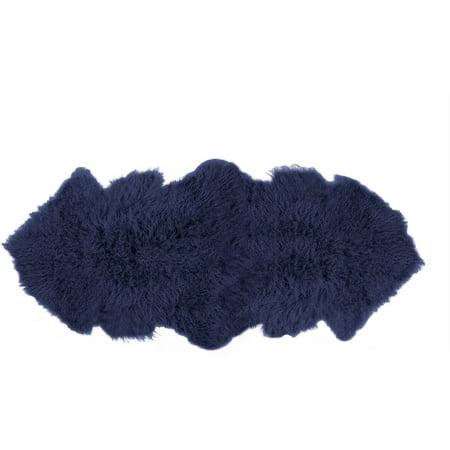 Rockwall Mongolian Sheepskin Faux Fur Double Rug, 2' x 6'](Double Mohawk)