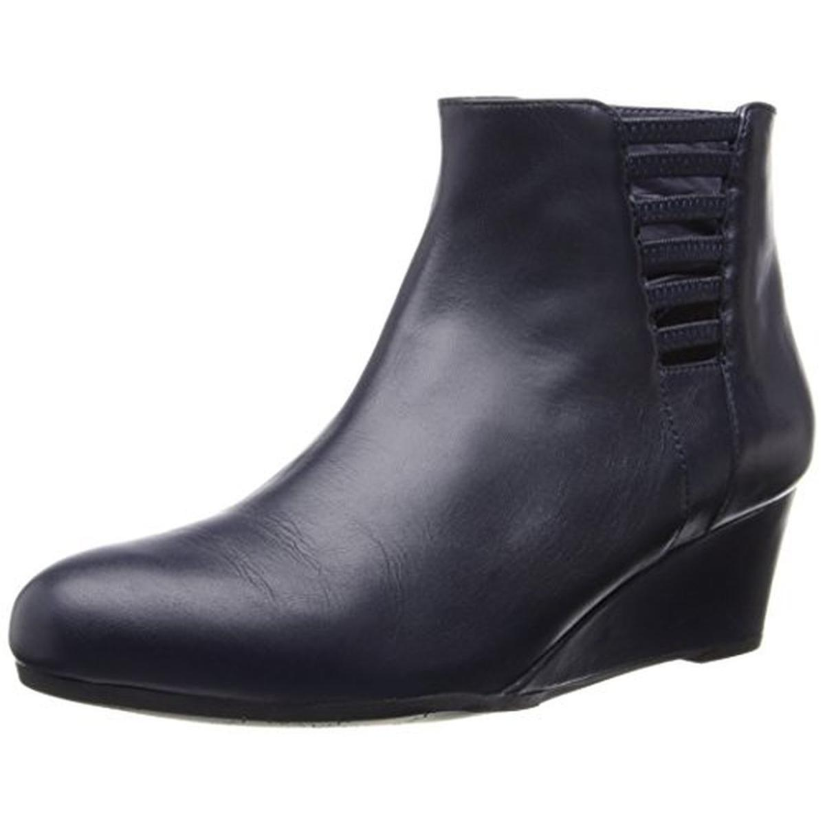 4fa30f379138 VANELi Womens Laban Leather Wedge Booties - Walmart.com