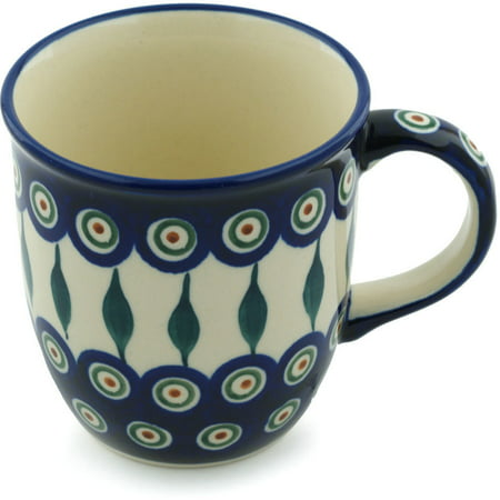 Polish Pottery 11 oz Mug (Peacock Leaves Theme) Hand Painted in Boleslawiec, Poland + Certificate of Authenticity ()