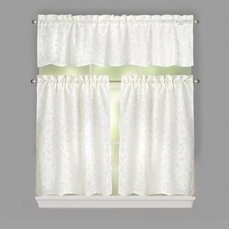 Laura Ashley Beatrice Floral Lace Window Tier & Valance Set, 3-Piece