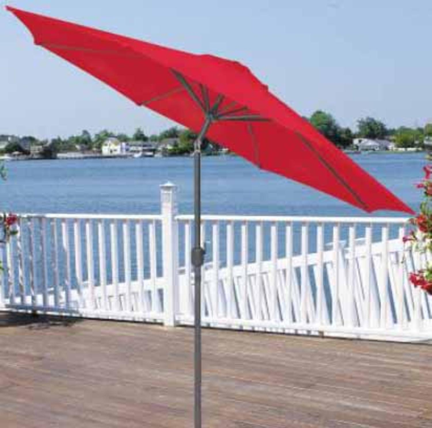 9' Outdoor Patio Market Umbrella with Hand Crank and Tilt - Red and Black