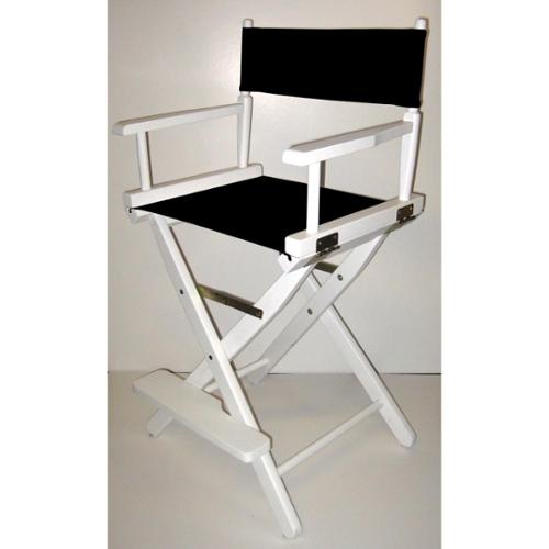 Folding Director's Style Chair w 24-Inch Seat Height & White Frame (Black)