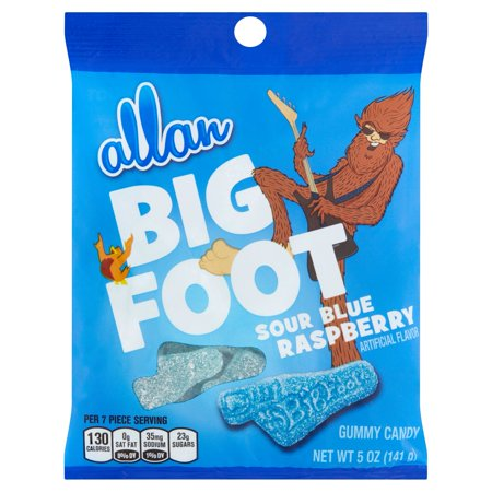 Image of ALLAN BIG FOOT Sour Blue Raspberry Gummy Candy, 5 oz, 12 Count