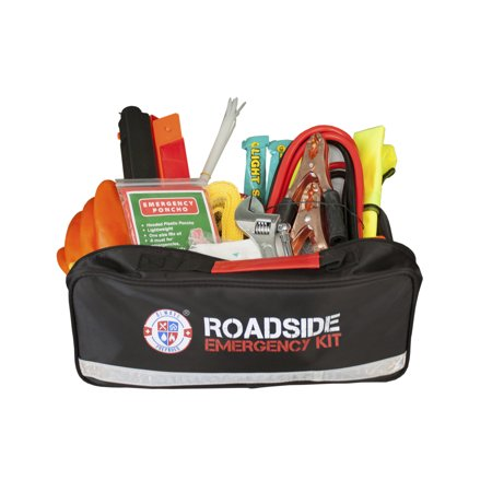 Roadside Assistance Auto Emergency Kit for Car - Fully Stocked (65 Pieces) Jumper Cables, Self-Powered LED Flashlight, First Aid Kit, Adjustable Wrench, 3-Ton Tow Rope, Gloves & More for Your