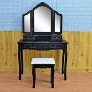 LYUMO Tri-fold Mirror Dresser with Dressing Stool Black,Mirror Dresser Set,Tri-fold Mirror Dresser