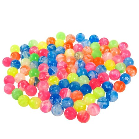 Juvale Bouncy Balls Party Favors - 100-Count Super Bouncy Balls Bulk, Small Mini Colorful High Bouncing Balls Party Bag Filler, Assorted Neon Colored Marble Designs, 0.73 Inches in Diameter Ball Party Kit