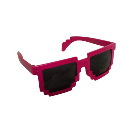 Pink 80's 8-Bit Pixelated Videogame Pixels Sunglasses Costume Accessory - 80s Party Games