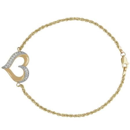 10KT Yellow Gold Cubic Zirconia Open Heart Bracelet, -