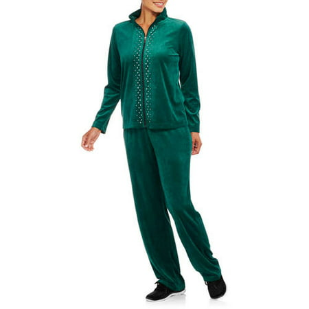 Women's Velour Full Zip Jacket and Pant Tracksuit with Embellishment