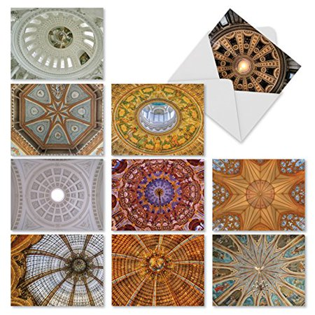 'M2303 OVERHEAD OPULENCE' 10 Assorted Thank You Note Cards Capturing Exceptional Architectural Imagery Of Ornately Designed Ceiling Domes with Envelopes by The Best Card