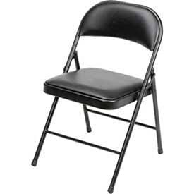 Black Vinyl Seating (Steel Frame Folding Chair, Padded Vinyl Seat and Back, Black, Lot of)