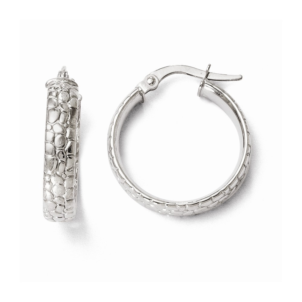 14k 4.00mm White Gold Polished and Textured Hoop Earrings (0.7IN Diameter)