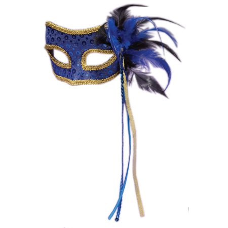 Forum Adult Men's Masquerade Feather Mask, Blue, One-Size - Halloween Forums
