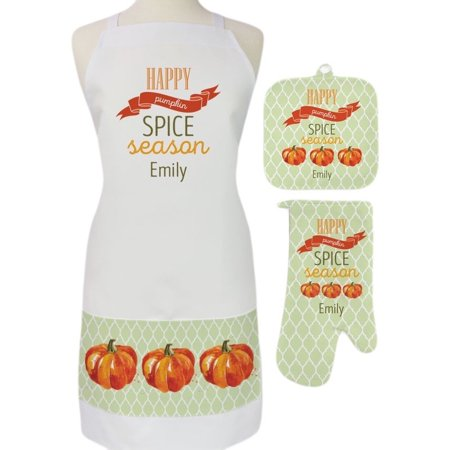 Pumpkin Spice Season Custom 3-Piece Apron, Potholder and Oven Mitt Set