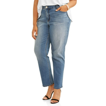 Women's Plus 5 Pocket Classic Straight Leg Stretch Jean, Available in Regular and Short (Classic Distressed Jeans)