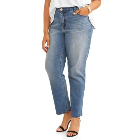 Women's Plus 5 Pocket Classic Straight Leg Stretch Jean, Available in Regular and Short Lengths 5 Pocket Raw Denim