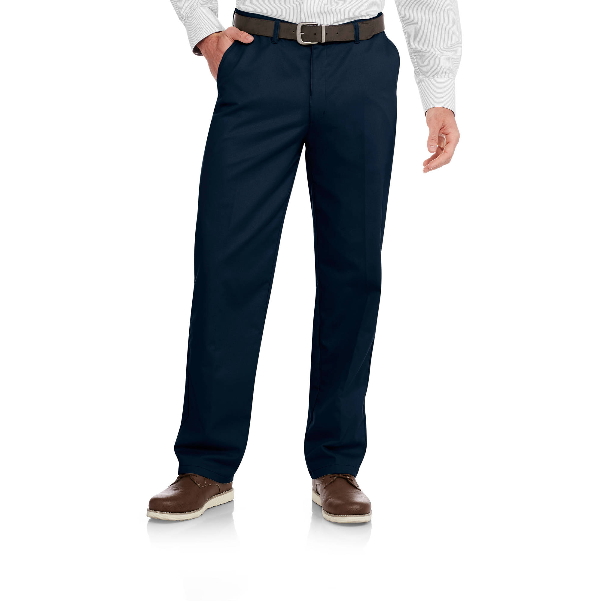 George Men's Wrinkle Resistant Flat Front 100% Cotton Twill Pant with Scotchgard