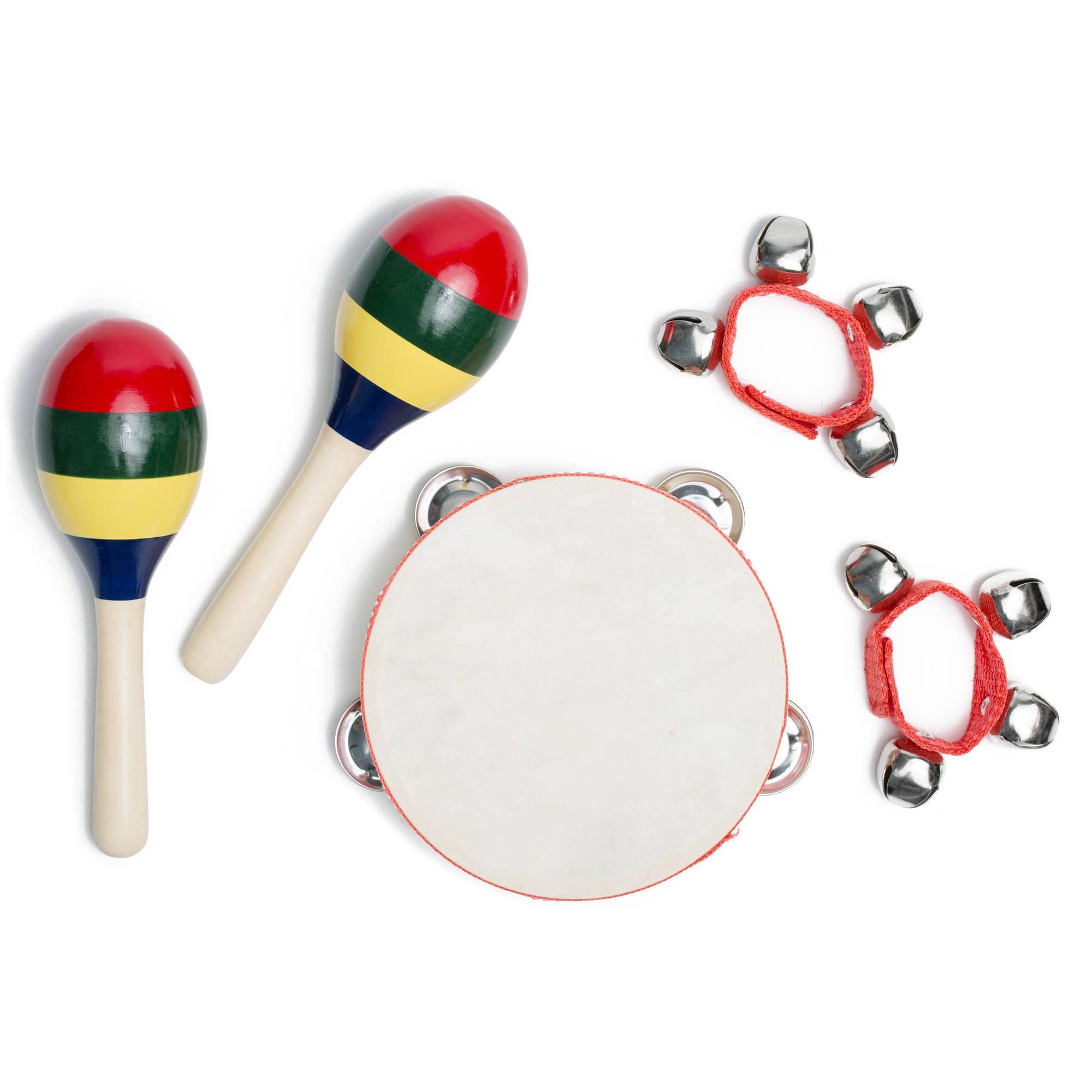 Kayata Kids Percussion Set includes Pair of Maracas, Wrist Bell and Tone Block
