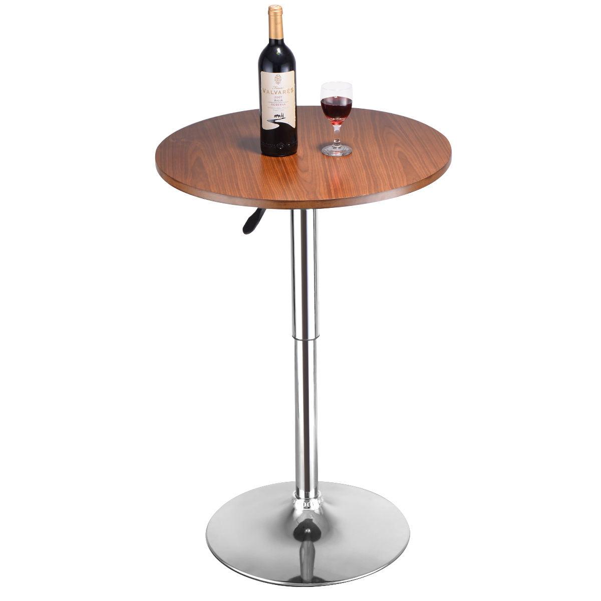 Costway Modern Round Bar Table Adjustable Bistro Pub Coun...