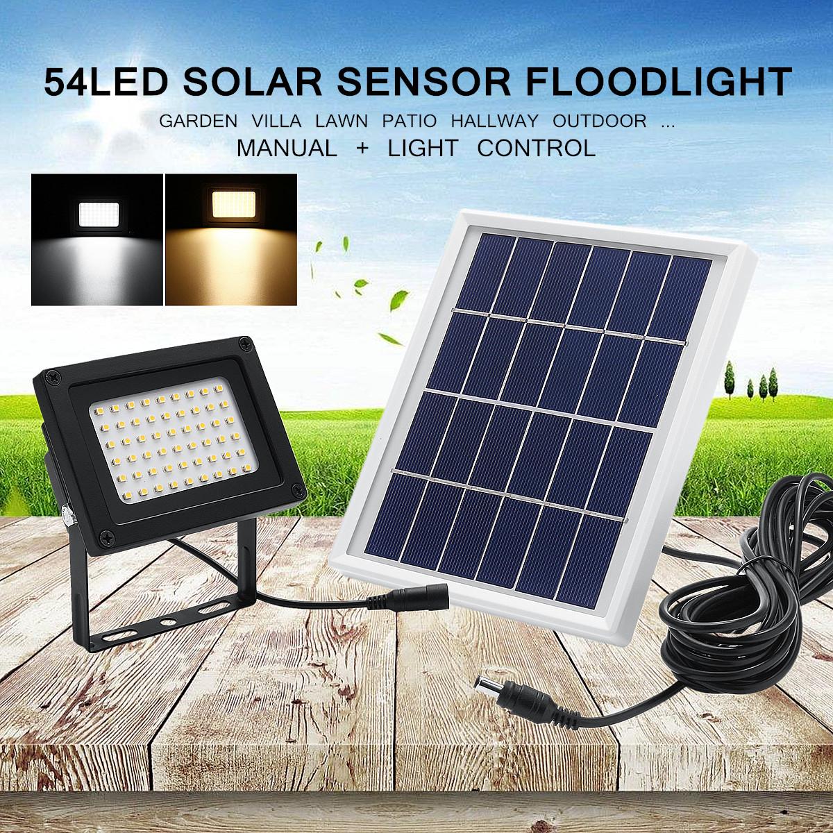 54 LED Super Bright Solar Powered Lamp + Solar Panel Flood Light Spot Lamp Dusk-to-Dawn Sensor Waterproof