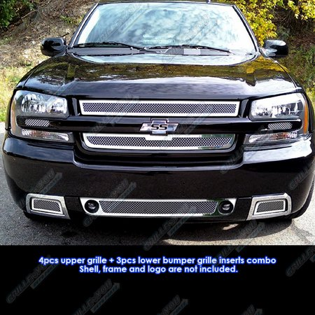 Compatible with 06-09 Chevy Trailblazer SS Mesh Grille Combo Insert N19-T70017C Aps Ss Wire Mesh