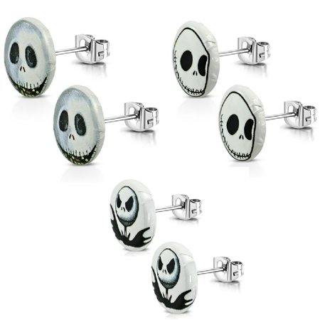3 Pairs of New 10mm Stainless Steel 2 tone Jack Skellington Stud Earrings Pairs