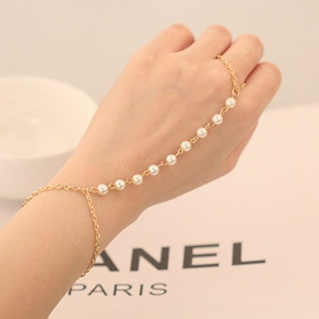 Woman Girl Peal Bead Bracelet Bangle Chain Wrist Bunch String Ornaments Decor Dress Finger Ring - image 5 of 8