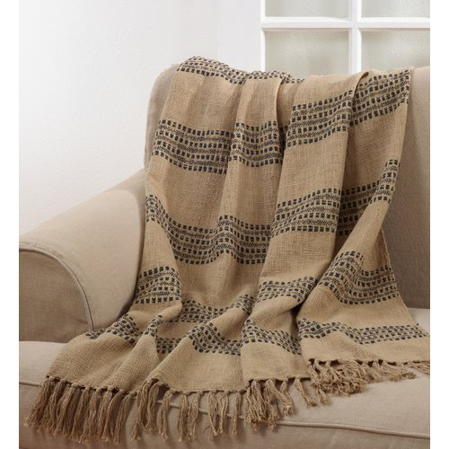 Gracie Oaks Annice Stitched Tasseled Cotton Throw