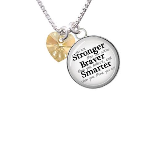 "Golden Crystal Heart Stronger Braver Smarter Glass Dome Necklace, 18""+2"""